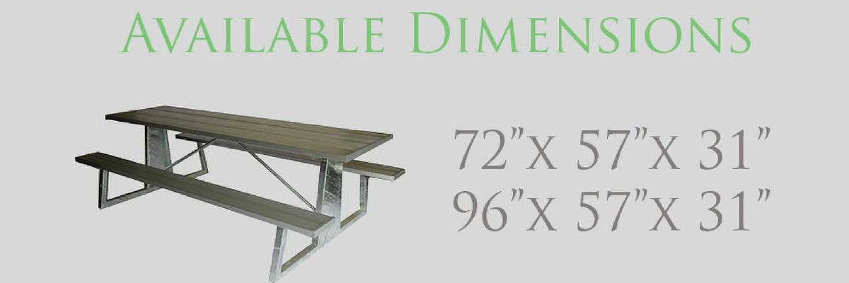 custom picnic table sizes