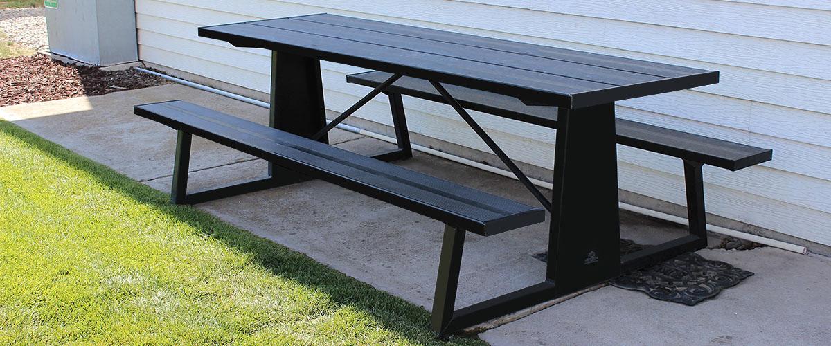 black picnic table