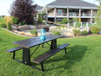 Statuary Bronze Picnic Table With A Black Base